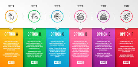 Receive file, Brainstorming and Money currency icons simple set. Typewriter, Skin cream and Startup rocket signs. Hold document, Lightning bolt. Business set. Infographic template. 6 steps timeline
