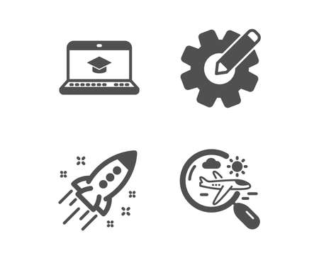 Set of Website education, Startup rocket and Cogwheel icons. Search flight sign. Video learning, Business innovation, Edit settings. Airplane trip. Classic design website education icon. Flat design