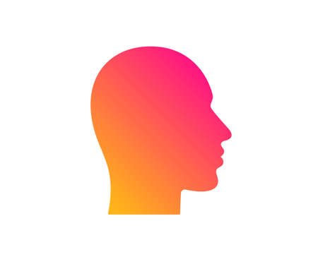 Head icon. Human profile sign. Facial identification symbol. Classic flat style. Gradient head icon. Vector Ilustracja