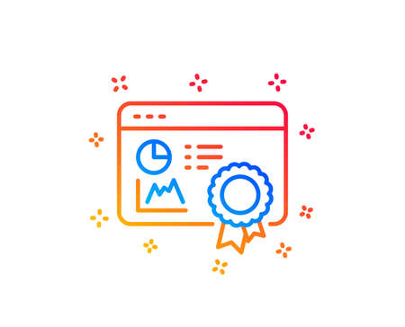 Seo statistics line icon. Search engine certificate sign. Analytics chart symbol. Gradient design elements. Linear seo certificate icon. Random shapes. Vector