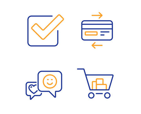Checkbox, Smile and Credit card icons simple set. Internet shopping sign. Approved tick, Socila media, Bank payment. Cart with purchases. Business set. Linear checkbox icon. Colorful design set Stock fotó - 124282915