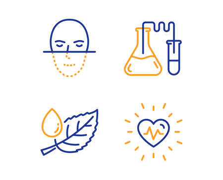 Leaf dew, Chemistry lab and Face recognition icons simple set. Heartbeat sign. Water drop, Medical laboratory, Faces biometrics. Medical heart. Healthcare set. Linear leaf dew icon. Vector Banque d'images - 124282923