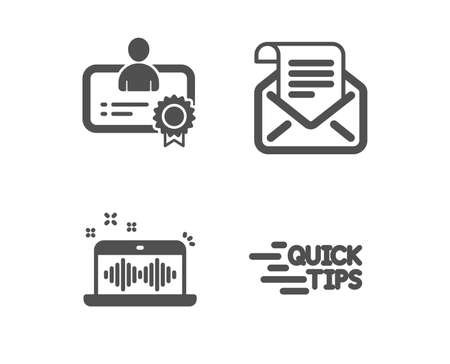 Set of Music making, Certificate and Mail newsletter icons. Education sign. Dj app, Best employee, Open e-mail. Quick tips.  Classic design music making icon. Flat design. Vector Illustration
