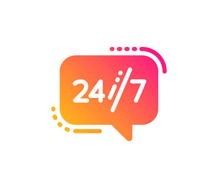 24/7 service icon. Call support sign. Feedback chat symbol. Classic flat style. Gradient 24/7 service icon. Vector Illustration