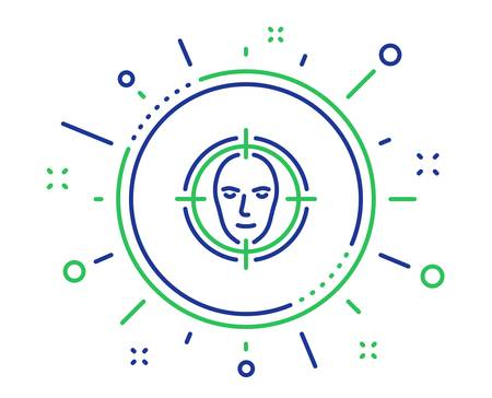 Face detect target line icon. Head recognition sign. Identification symbol. Quality design elements. Technology face detect button. Editable stroke. Vector