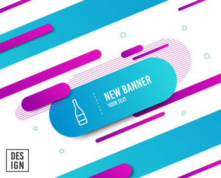 Champagne bottle line icon. Anniversary alcohol sign. Celebration event drink. Diagonal abstract banner. Linear champagne bottle icon. Geometric line shapes. Vector  イラスト・ベクター素材