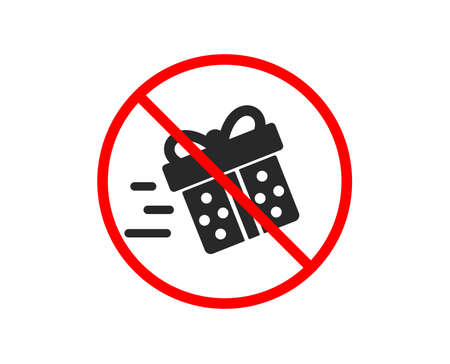 No or Stop. Gift box Delivery icon. Present or Sale sign. Birthday Shopping symbol. Package in Gift Wrap. Prohibited ban stop symbol. No present delivery icon. Vector