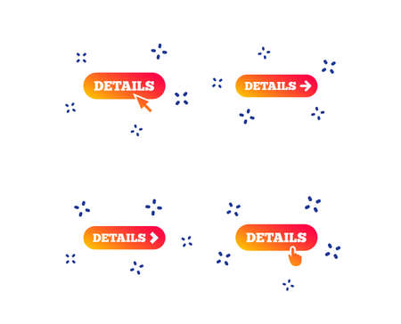 Details with arrow icon. More symbol with mouse and hand cursor pointer sign symbols. Random dynamic shapes. Gradient details icon. Vector Illustration