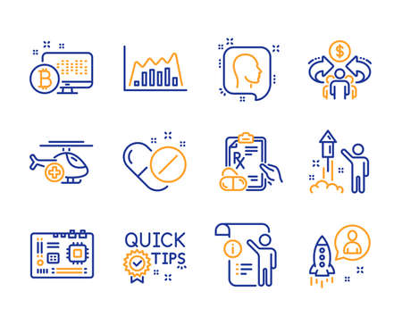 Motherboard, Sharing economy and Manual doc icons simple set. Medical helicopter, Prescription drugs and Infographic graph signs. Quick tips, Medical pills and Fireworks symbols. Line motherboard icon Illustration