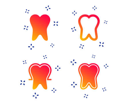 Tooth enamel protection icons. Dental care signs. Healthy teeth symbols. Random dynamic shapes. Gradient dentistry icon. Vector Illustration