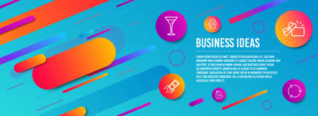 Header banner. Phone messages, Martini glass and Fast payment icons simple set. Discount tags, Opened gift and Recycling signs. Mobile chat, Wine. Business set. Line phone messages icon. Vector