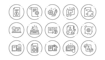 Icone della riga di documentazione tecnica. Istruzioni, piano e manuale. Insieme dell'icona lineare di algoritmo. Pulsanti di linea con l'icona. Tratto modificabile. Vettore