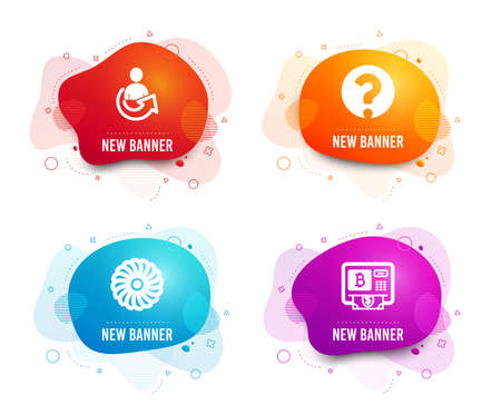 Liquid badges. Set of Question mark, Fan engine and Share icons. Bitcoin atm sign. Ask support, Ventilator, Referral person. Cryptocurrency change.  Gradient question mark icon. Flyer fluid design Standard-Bild - 119584791