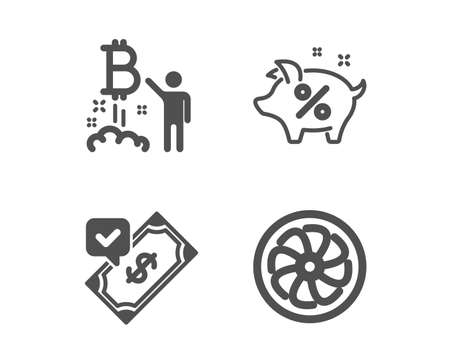 Set of Loan percent, Bitcoin project and Accepted payment icons. Fan engine sign. Piggy bank, Cryptocurrency startup, Bank transfer. Ventilator.  Classic design loan percent icon. Flat design. Vector