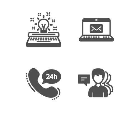 Set of Typewriter, E-mail and 24h service icons. People sign. Inspiration, New message, Call support. Support job.  Classic design typewriter icon. Flat design. Vector Ilustração