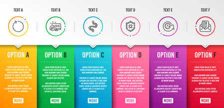 Reject protection, Update time and Timeline icons simple set. Web system, Loop and Credit card signs. No security, Refresh watch. Technology set. Infographic template. 6 steps timeline. Vector