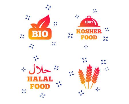 Natural Bio food icons. Halal and 100% Kosher signs. Gluten free agricultural symbol. Random dynamic shapes. Gradient organic food icon. Vector Illustration