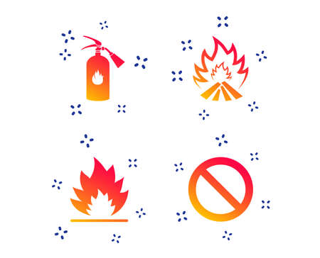 Fire flame icons. Fire extinguisher sign. Prohibition stop symbol. Random dynamic shapes. Gradient protection icon. Vector