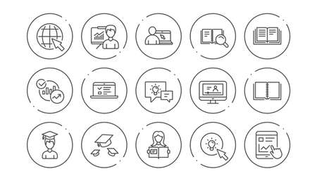 Education line icons. Book, Video tutorial and Instructions. Presentation linear icon set. Line buttons with icon. Editable stroke. Vector Illustration