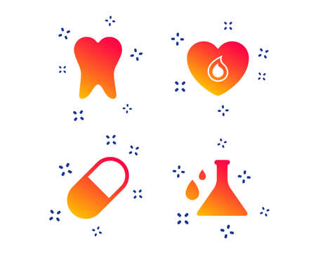 Maternity icons. Pill, tooth, chemistry and heart signs. Blood donation symbol. Lab bulb with drops. Dental care. Random dynamic shapes. Gradient medicine icon. Vector Standard-Bild - 119584825
