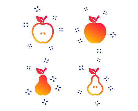 Fruits with leaf icons. Apple and Pear with seeds signs. Natural food symbol. Random dynamic shapes. Gradient fruit icon. Vector