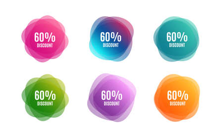 Blur shapes. 60% Discount. Sale offer price sign. Special offer symbol. Color gradient sale banners. Market tags. Vector Illustration