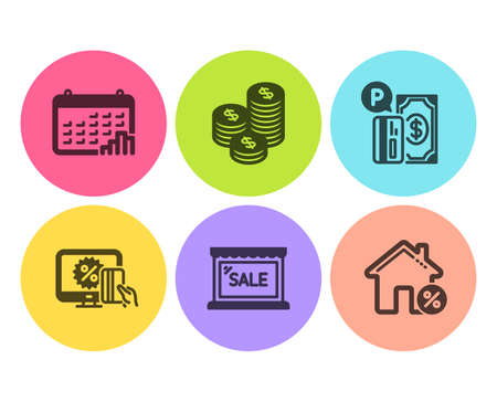 Sale, Online shopping and Parking payment icons simple set. Calendar graph, Coins and Loan house signs. Shopping store, Black friday. Finance set. Flat sale icon. Circle button. Vector