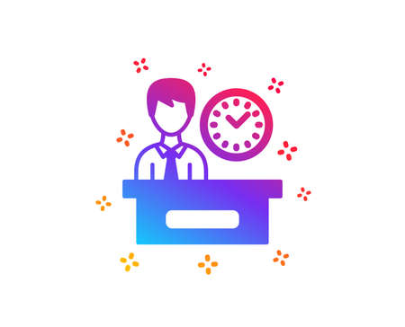 Presentation time icon. Watch sign. Dynamic shapes. Gradient design presentation time icon. Classic style. Vector