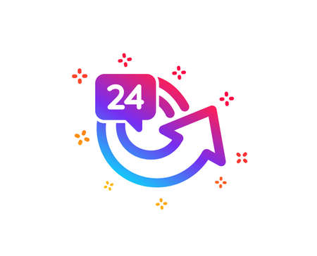 24 hours service icon. Repeat every day sign. Refund symbol. Dynamic shapes. Gradient design 24 hours icon. Classic style. Vector