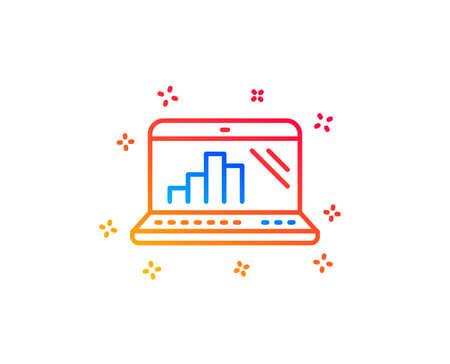 Graph laptop line icon. Column chart sign. Growth diagram symbol. Gradient design elements. Linear graph laptop icon. Random shapes. Vector