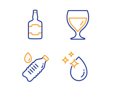 Whiskey bottle, Water bottle and Wine glass icons simple set. Water drop sign. Scotch alcohol, Still drink, Cabernet wineglass. Crystal aqua. Food and drink set. Linear whiskey bottle icon. Vector