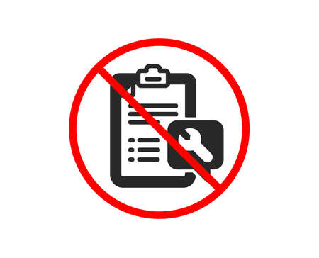 No or Stop. Spanner tool icon. Repair service checklist sign. Fix instruments symbol. Prohibited ban stop symbol. No spanner icon. Vector