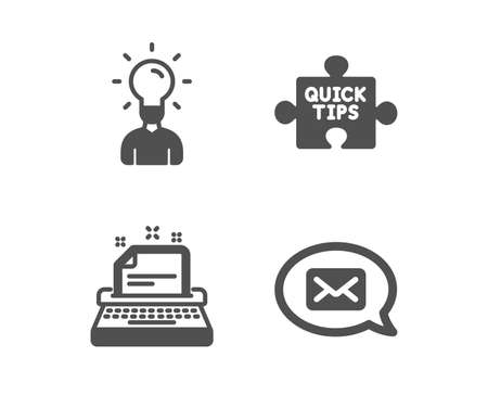 Set of Typewriter, Education and Quick tips icons. Messenger sign. Instruction, Human idea, Tutorials. New message.  Classic design typewriter icon. Flat design. Vector