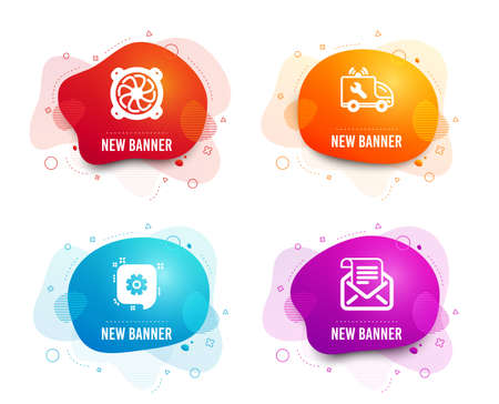 Liquid badges. Set of Computer fan, Cogwheel and Car service icons. Mail newsletter sign. Pc ventilator, Engineering, Repair service. Open e-mail.  Gradient computer fan icon. Flyer fluid design Illustration