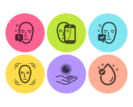 Face accepted, Sun protection and Face attention icons simple set. Vitamin e sign. Access granted, Ultraviolet care. Medical set. Flat face accepted icon. Circle button. Vector Foto de archivo - 124283012