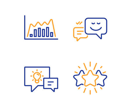 Infographic graph, Idea lamp and Happy emotion icons simple set. Star sign. Line diagram, Business energy, Web chat. Customer feedback. Business set. Linear infographic graph icon. Colorful design set