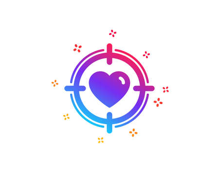 Heart in Target aim icon. Love dating symbol. Valentines day sign. Dynamic shapes. Gradient design valentine target icon. Classic style. Vector Illusztráció