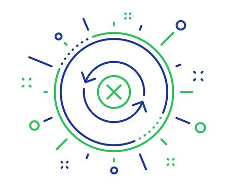 Reject refresh line icon. Decline update sign. Rotation arrow. Quality design elements. Technology reject refresh button. Editable stroke. Vector