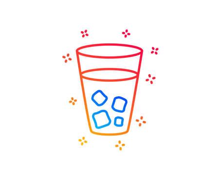 Ice tea line icon. Soda drink sign. Fresh cold beverage symbol. Gradient design elements. Linear ice tea icon. Random shapes. Vector