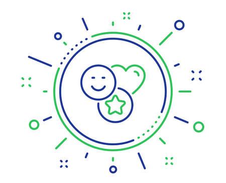 Social media likes line icon. Heart, star sign. Positive smile feedback symbol. Quality design elements. Technology smile button. Editable stroke. Vector Foto de archivo - 124283021