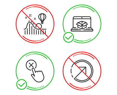 Do or Stop. Online delivery, Reject click and Roller coaster icons simple set. Direction sign. Parcel tracking website, Delete button, Attraction park. Navigation pointer. Technology set. Vector