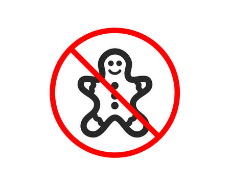 No or Stop. Gingerbread man icon. Ginger cookie sign. Sweet holiday food symbol. Prohibited ban stop symbol. No gingerbread man icon. Vector Standard-Bild - 124283022