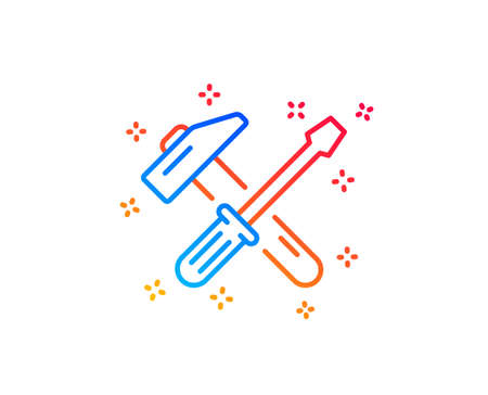 Hammer and screwdriver line icon. Repair service sign. Fix instruments symbol. Gradient design elements. Linear hammer tool icon. Random shapes. Vector