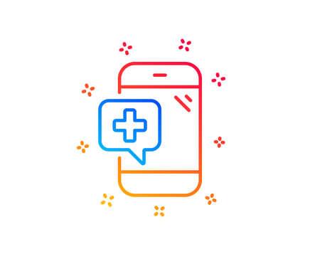 Medicine phone line icon. Mobile medical help sign. Gradient design elements. Linear medical phone icon. Random shapes. Vector Banque d'images - 124283029