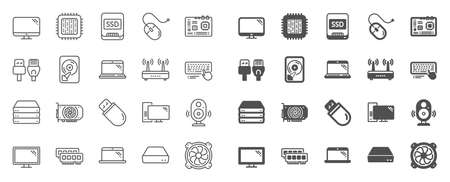 Computer components, Laptop, SSD line icons. Motherboard, CPU, Internet cables icons. Wifi router, computer monitor, Graphic card. Keyboard, SSD device. Internet cables, laptop components. Vector