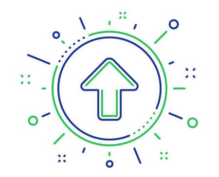 Upload arrow line icon. Direction Arrowhead symbol. Navigation pointer sign. Quality design elements. Technology upload button. Editable stroke. Vector