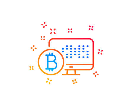 Bitcoin line icon. Cryptocurrency monitor sign. Crypto money symbol. Gradient design elements. Linear bitcoin system icon. Random shapes. Vector Ilustracja