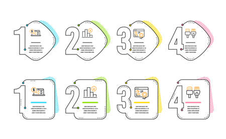 Seo certificate, Online accounting and Decreasing graph icons simple set. Computer cables sign. Statistics, Web audit, Crisis chart. Rj45 internet. Technology set. Infographic timeline. Vector