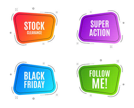 Geometric banners. Black Friday Sale. Special offer price sign. Advertising Discounts symbol. Follow me banner. Clearance sale. Vector