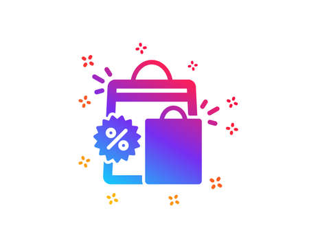 Discount icon. Sale shopping bags sign. Clearance symbol. Dynamic shapes. Gradient design shopping bags icon. Classic style. Vector